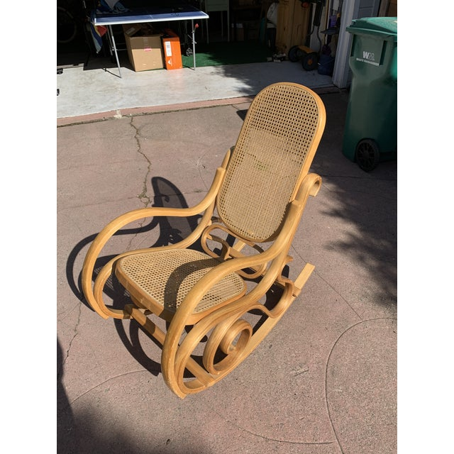 Brown Cane Bentwood Rocking Chair In The Style of Michael Thonet For Sale - Image 8 of 8