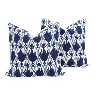 Blue and Ivory Ikat Frey Pattern Pillows, a Pair For Sale