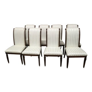 Leighton Hall Regency Style Upholstered Dining Chairs- Set of 8 For Sale