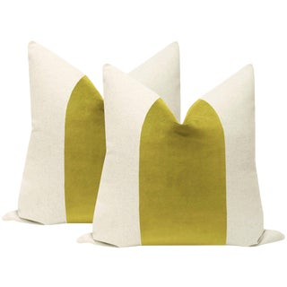"22"" Chartreuse Velvet Panel & Linen Pillows - a Pair For Sale"