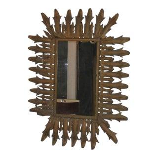 French 1940s Gilt Iron Rectangular Sunburst Wall Mirror