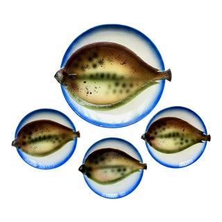 Mid-Century Tromp l'Oiel Fish Platter & 3 Fish Plates For Sale