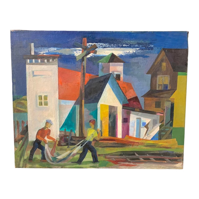 Mid-Century Cubist Style Scenery Oil Painting by Howard Mandel For Sale