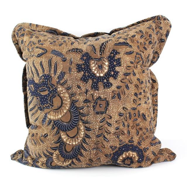 Primitive Brown Antique Batik Pillow For Sale - Image 3 of 3