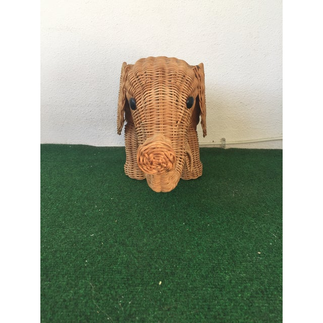 Boho Chic Wicker Elephant Planter For Sale - Image 3 of 9
