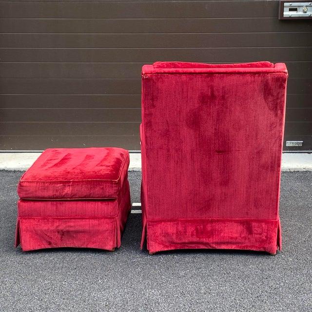 J.b. Van Sciver Distressed Velvet Chair & Ottoman For Sale In Philadelphia - Image 6 of 13