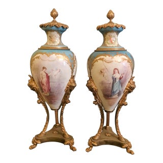 19th C. French Sevres Porcelain Mounted Bronze Urns - A Pair For Sale
