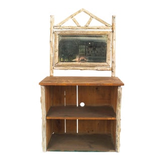 1920s Vintage Rustic American Adirondack Birchwood and Bark Dresser Cabinet For Sale