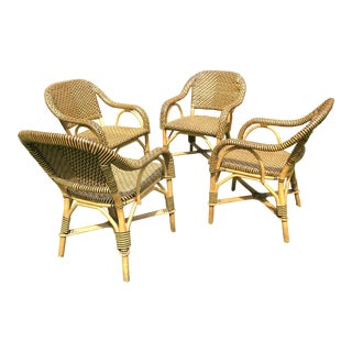French Woven Leather Bistro Chairs - Set of 4 For Sale