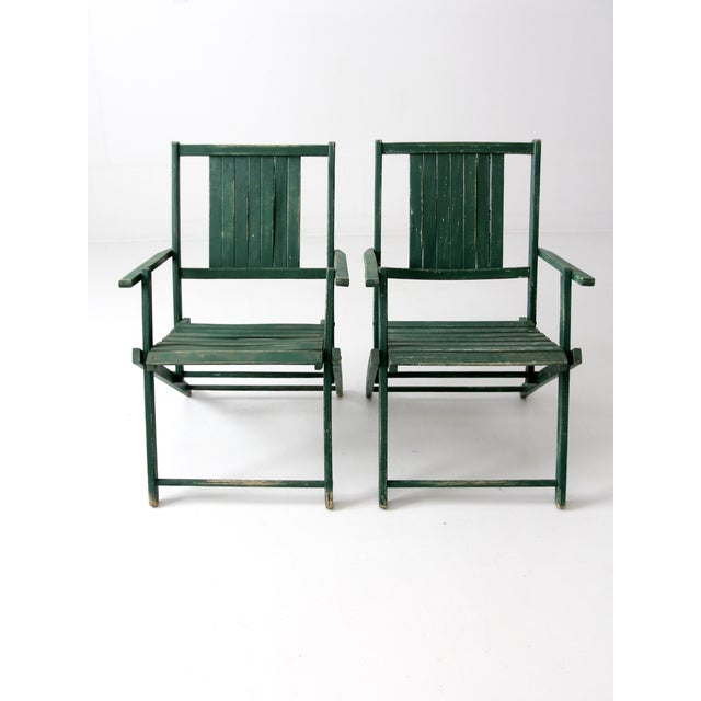 Vintage Wood Folding Chairs in Emerald - A Pair For Sale - Image 4 of 8