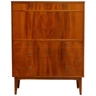 Handsome Swedish Modernist Elm Secretarie For Sale