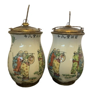 1980s Vintage Chinese Covered Porcelain Pots Urns- A Pair For Sale