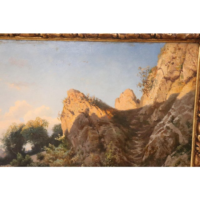 Late 19th Century 19th Century Antique Italian Oil Painting on Canvas Impressionist Landscape For Sale - Image 5 of 9