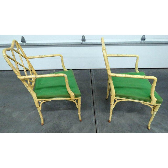 Pair of Faux Bamboo Armchairs For Sale In Philadelphia - Image 6 of 9