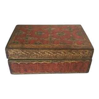 1960s Italian Florentine Rust Wood Box For Sale