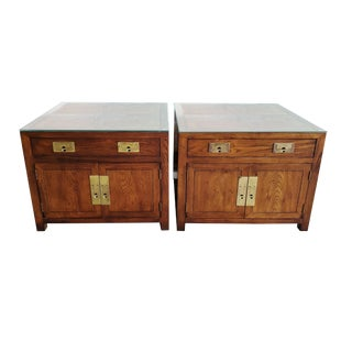1970's Henredon Campaign Style Side Tables - a Pair For Sale