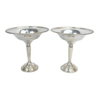 Mid 20th Century Vintage Sterling Silver Tazza Serving Compotes - a Pair For Sale