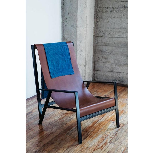 """2010s Foreman Brothers """"Hampton"""" Leather Sling Lounge Chair For Sale - Image 5 of 7"""