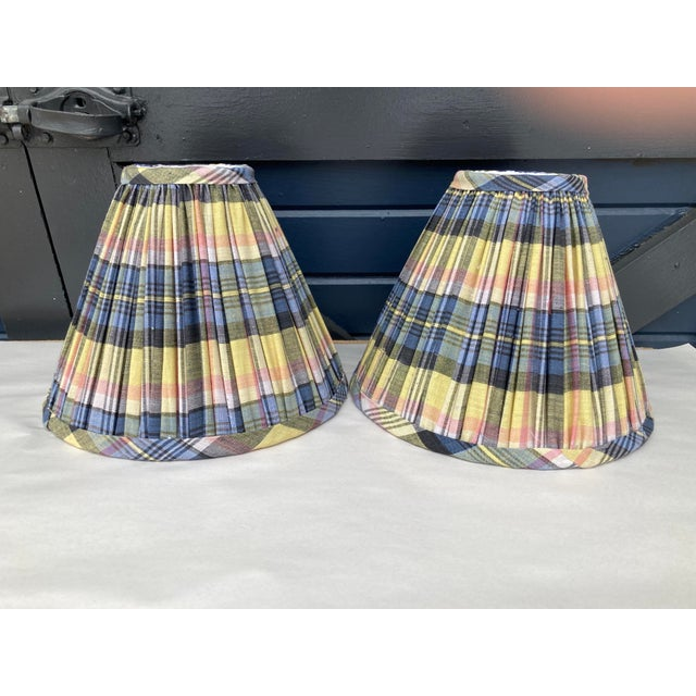 Madras Plaid Shirred Lampshades - a Pair For Sale - Image 4 of 4