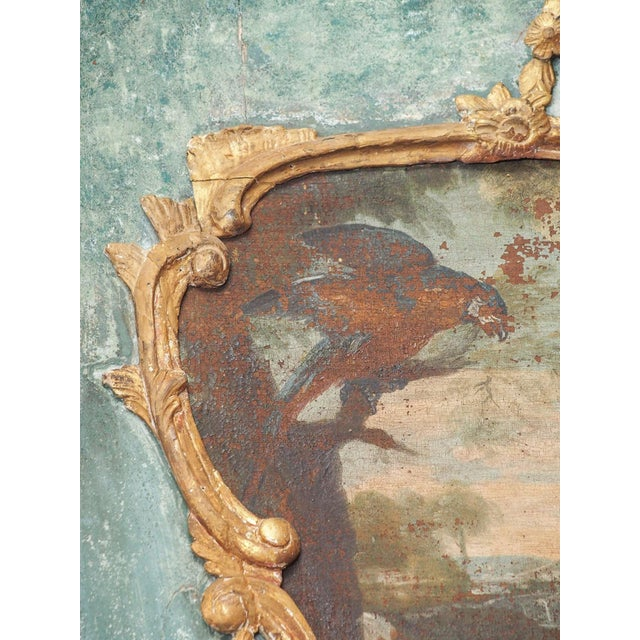 Early 18th Century Regence Trumeau with a Landscape Painting with Birds For Sale - Image 5 of 8
