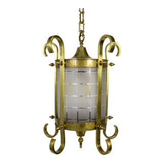 Scroll & Spike Cylindrical Beveled Glass Lantern For Sale