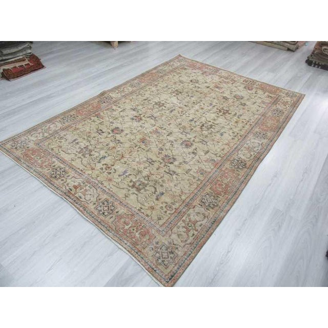 1960s Vintage Turkish Oushak Distressed Rug- 6′7″ × 9′8″ For Sale - Image 5 of 12