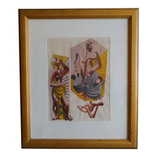 Abstract Mid Century Surrealist Guache Watercolor For Sale
