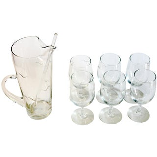 7-Piece Etched Seagull Cocktail Pitcher Set For Sale
