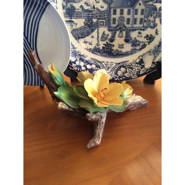 Ceramic Vintage Capodimonte Flower in Yellow For Sale - Image 7 of 10