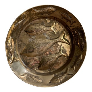Hand-Hammered Brass Wall Hanging With Fish Design and Artist's Mark For Sale