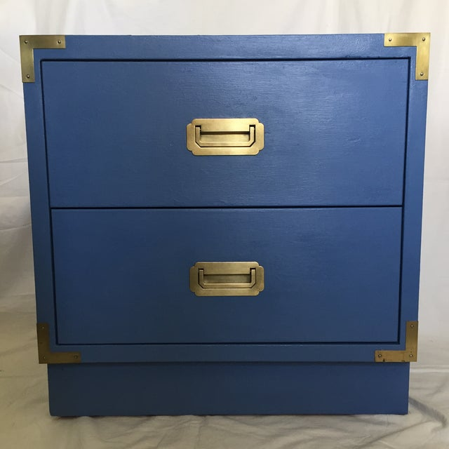 Blue Campaign Style Nightstand - Image 2 of 5