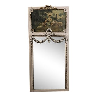 19th Century French Romantic Louis XVI Painted Trumeau Mirror For Sale