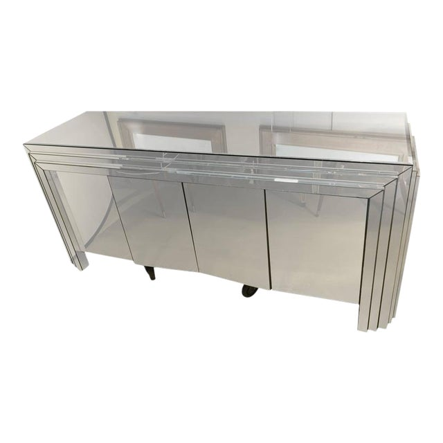 Hollywood Regency 4-Door Mirrored Side Board or Dresser For Sale