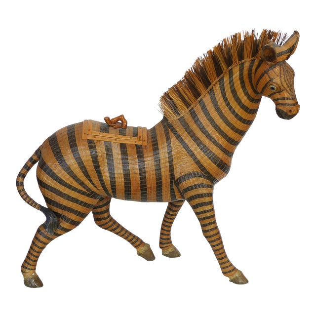 Chinese Woven Reed Zebra Trinket Box For Sale