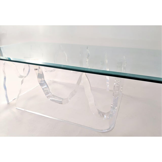 1970s Lion in Frost Style Lucite Iceberg Coffee 2-Piece Table Base For Sale - Image 5 of 13