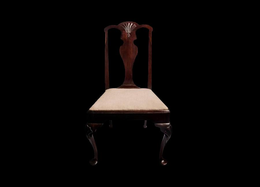 A Stunning Early King George II Irish Mahogany Side Chair. The Serpentine  Top Rail With
