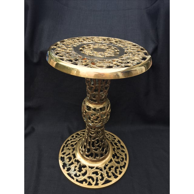 Ornate Filagree Solid Brass Round Side Table - Image 3 of 11