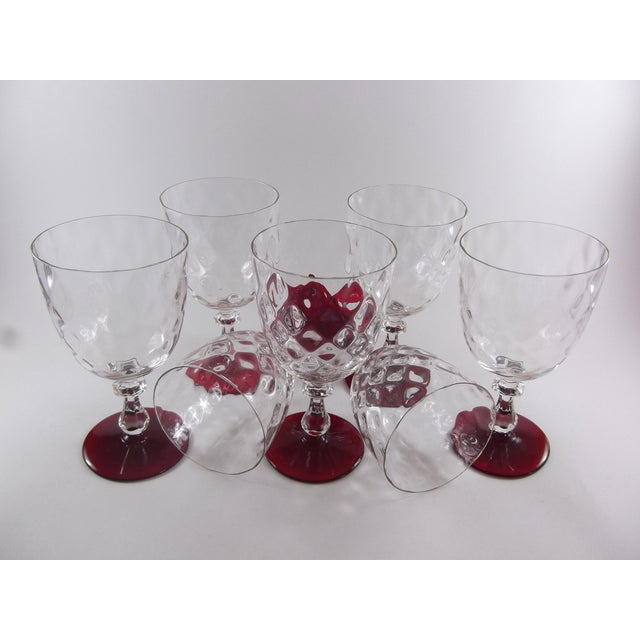 Crystal Ruby Footed Goblets - Set of 7 - Image 3 of 7