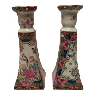 Rose Medallion Porcelain Candle Holders - A Pair For Sale