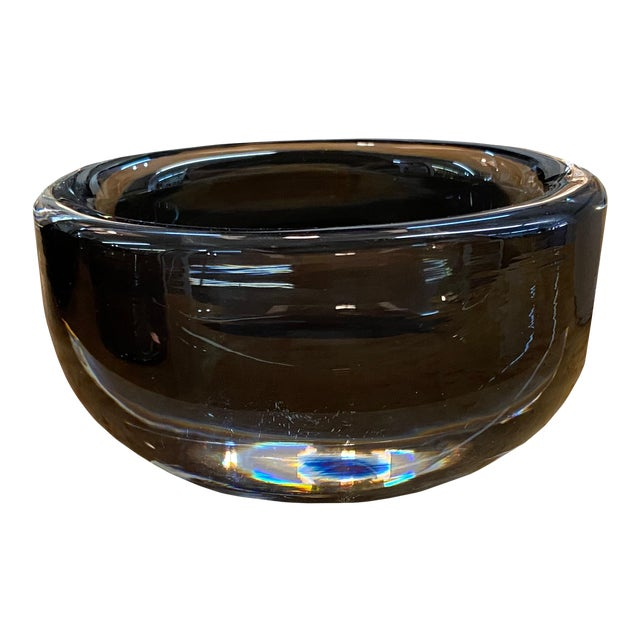 Mid 20th Century Orrefors Small Smoked Glass Signed Bowl For Sale
