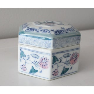 Blue, Pink and Green Floral Hexagon Ceramic Trinket Box Preview