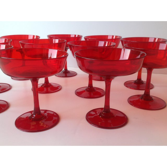 Boho Chic Mid-Century Ruby Red Crystal Coupe Champagne Glasses - Set of 11 For Sale - Image 3 of 6