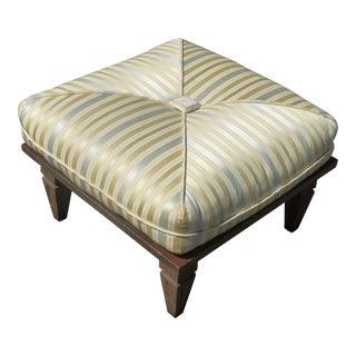 Vintage Mid Century Modern Leonard of California Striped Ottoman Footstool For Sale