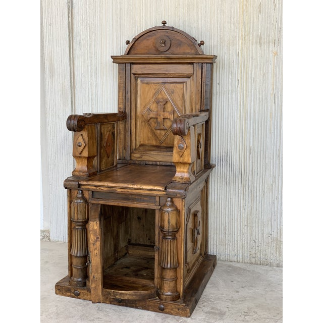 Late 19th Century 19th Century Spanish Carved Walnut Throne Armchair For Sale - Image 5 of 13