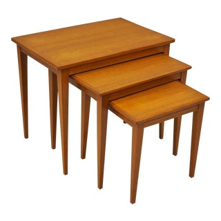 Mid Century Danish Modern Teak Nesting End Side Lamp Tables Bent Silberg Style