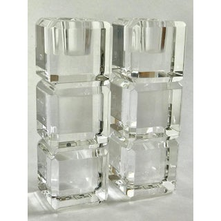 Mid-Century Stacked Lucite Clear Acrylic Candle Holders - a Pair Preview