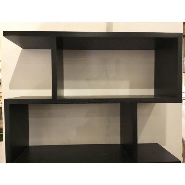 Stylish Arteriors Modern Horner Sable brown finished wood bookshelf, natural wood grain, showroom floor sample, original...