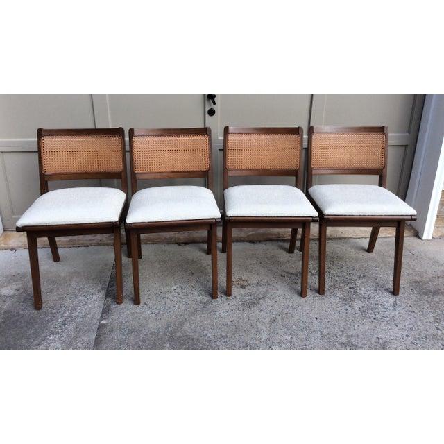 Mid-Century Walnut & Rattan Dining Chairs - Set of 4 - Image 3 of 10
