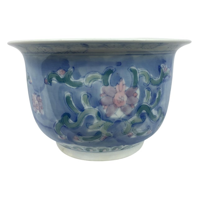 Vintage Chinoiserie Porcelain Garden Planter Pot - Image 1 of 9