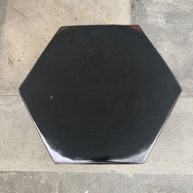 Modern Black Hexagonal Terra-Cotta Glazed Garden Stool For Sale - Image 4 of 7